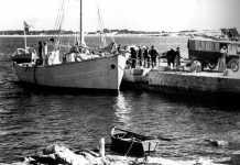 Imagen del año 1932 en que se aprecian las precarias instalaciones portuarias de Formentera