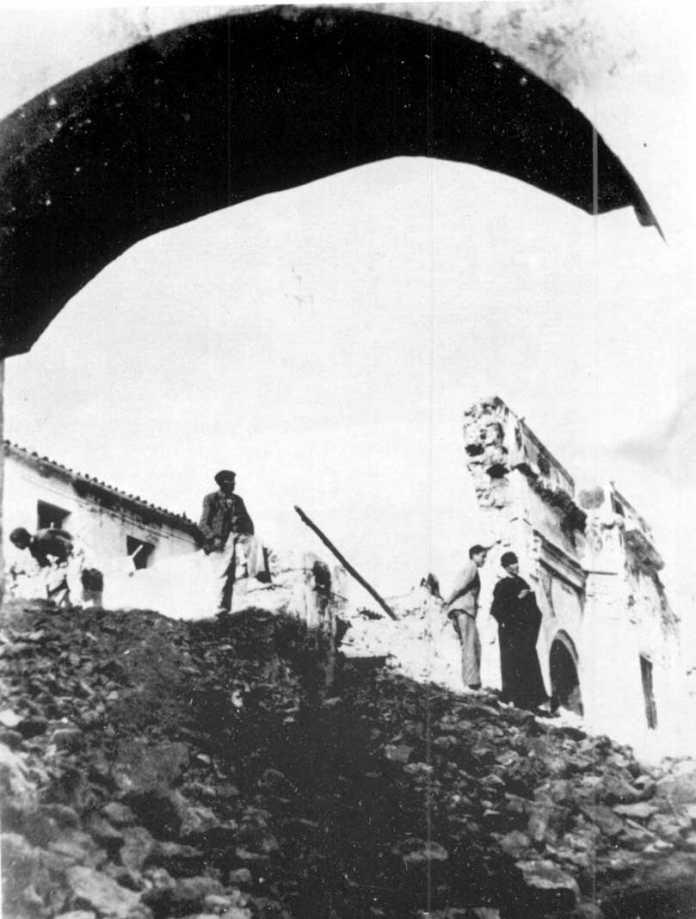 Aspecto que ofrece la iglesia de San Telmo tras los bombardeos de la guerra