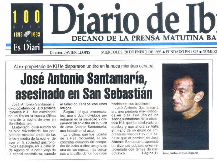 Portada de Diario de Ibiza en la que se publicó la noticia del asesinato.