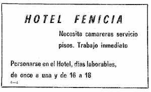 Se precisan camareras para el Hotel Fenicia.