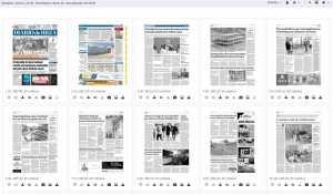 Vista de las páginas de la edición del 26 de abril ya completas, con las fotos y los anuncios, tal como se enviaron a la rotativa.