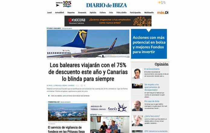 Trabajo en la web.La portada de diariodeibiza.es. D.I.