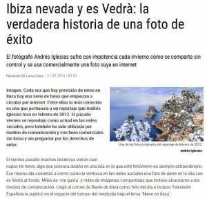 La noticia en la que se desmontaba una falsa nevada frente a es Vedrà en 2015.