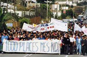 Manifestación contra el 'camping' de es Ca Marí en 1993. C. C.