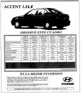 Anuncio del Hyundai Accent (1997). fotos: hemeroteca de diario de ibiza