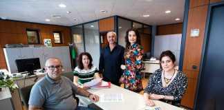 Administración. De izquierda a derecha, Juan Antonio Gisbert, María Ruiz, José Luis Gisbert, Marilín Franch e Irene Marí. Vicent Marí