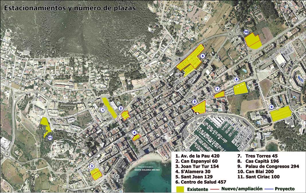 Plano de las zonas y el número de plazas de aparcamiento que existen en Santa Eulària.