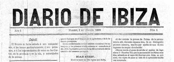 Cabecera Diario de Ibiza de 1893