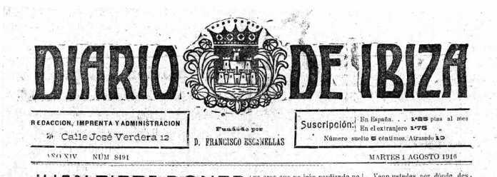 Cabecera Diario de Ibiza de 1916