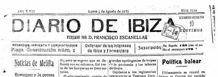 Cabecera Diario de Ibiza de 1921