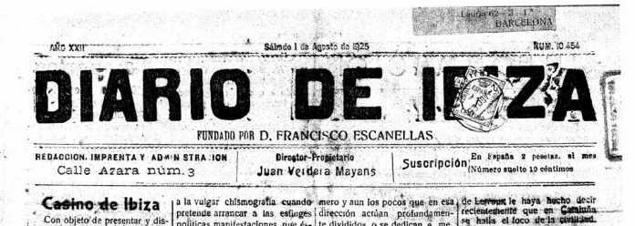 Cabecera Diario de Ibiza de 1925