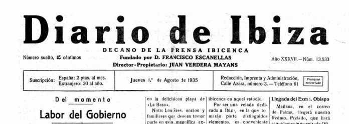 Cabecera Diario de Ibiza de 1935