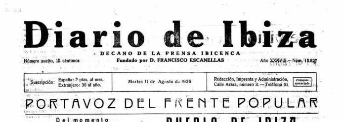 Cabecera Diario de Ibiza de 1936