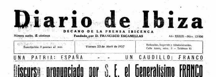 Cabecera Diario de Ibiza de 1937