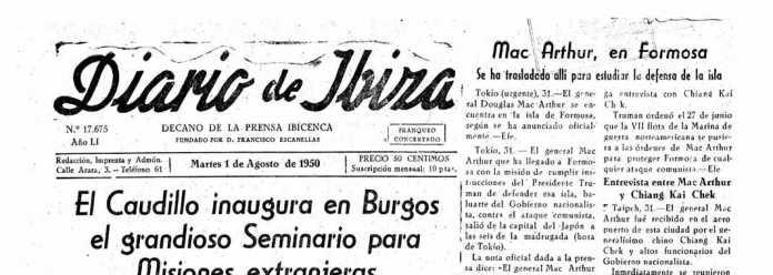 Cabecera Diario de Ibiza de 1950