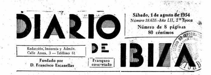 Cabecera Diario de Ibiza de 1954