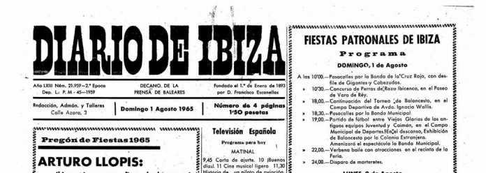 Cabecera Diario de Ibiza de 1965