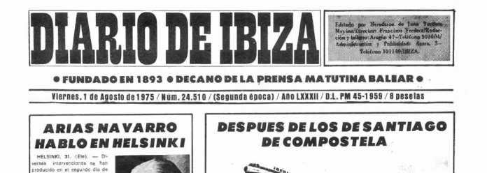 Cabecera Diario de Ibiza de 1975