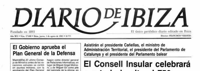 Cabecera Diario de Ibiza de 1985