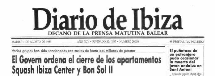 Cabecera Diario de Ibiza de 1989