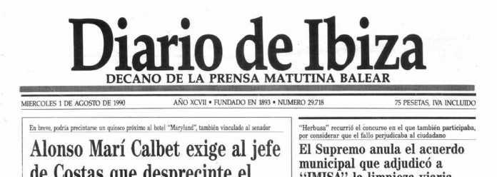 Cabecera Diario de Ibiza de 1990