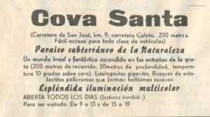 Anuncio de Cova Santa publicado en Diario de Ibiza en 1957.