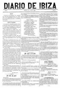 La portada del primer número de Diario de Ibiza, publicado el 1 de agosto de 1893.