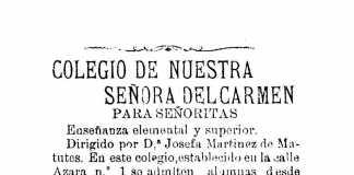 Las señoritas de pro podían estudiar en 1906 en este colegio de la calle Azara. Las mujeres de mejor condición social podían estudiar en un colegio de señoritas