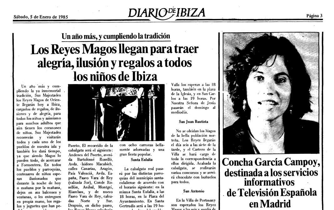 Diario de Ibiza publicó en 1985 la noticia de que Concha García Campoy iba a presentar el telediario de TVE-1.