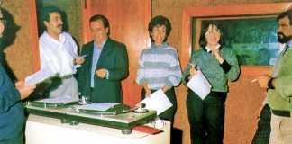 Radio Diario. Suárez, Paco Verdera, Montse Ferrer, Misse García y Carlos Tur, equipo de Radio Diario en su primera etapa. DI.