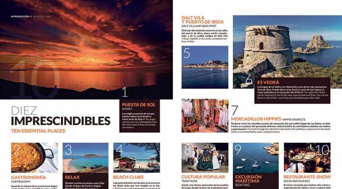 Guía de Turismo de Ibiza y Formentera. Cuatro dobles páginas de la edición de Fitur 2018 de La Guía de Ibiza y La Guía de Formentera.