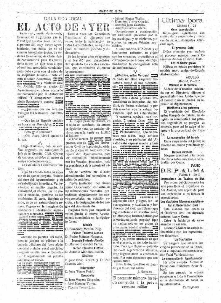 Tachones de la censura en 1923. DI.