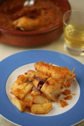 Calamares rellenos, una exquisitez de nuestra cocina.
