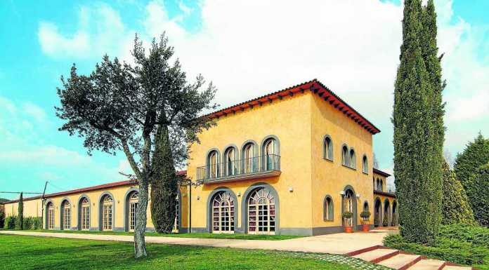 Singular edificio de la Bodega Pere Ventura en pleno corazón del los viñedos de Sant Sadurní.P.V.