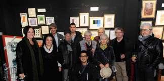 Galería Jorge Alcolea Ibiza. Jorge Alcolea posa con los artistas de la exposición actual. Fotos: Gabi Vázquez