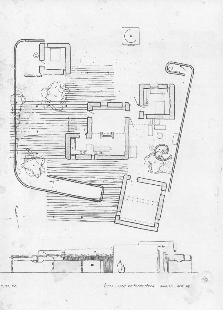 Plano de la casa del artistas Erró en es Carmatge