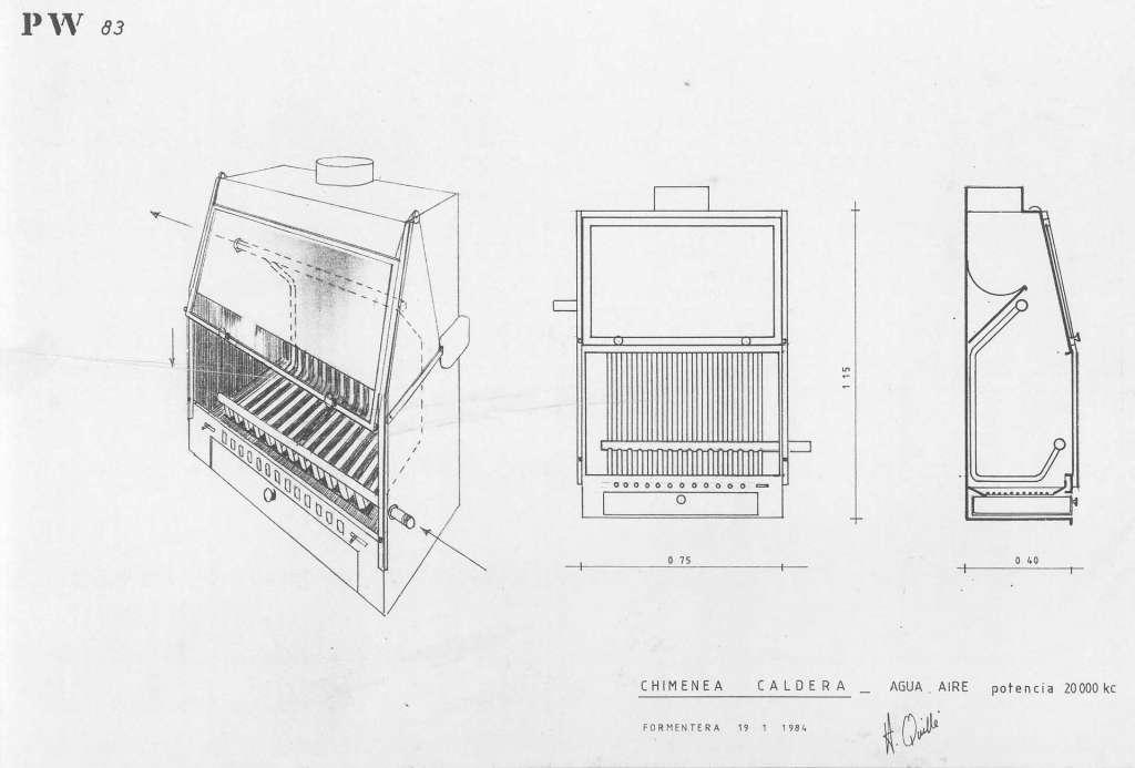 Planos de la chimenea caldera de Quillé