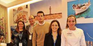 Natalia López, Carlos Bernús, Rubén, Alejandra Ferrer y la chef Martina.