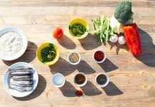 Ingredientes para preparar el arroz con 'gerret' que preparan en el restaurante Can Cires. g.felip