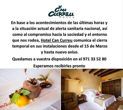 Hotel Rural Can Curreu cierra  temporalmente sus instalaciones