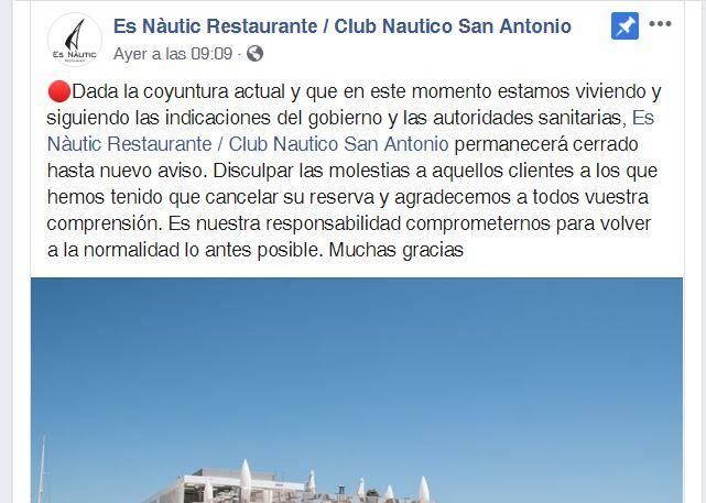 Los restaurantes de Ibiza y Formentera cierran sus puertas