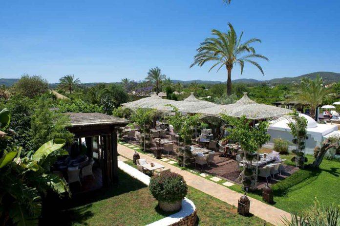 El restaurante La Veranda de Atzaró está rodeado de naturaleza en pleno campo ibicenco.