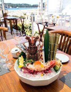 Sashimi de langosta.