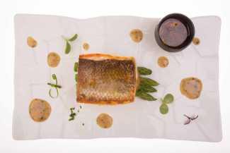Cuidadas presentaciones en una cocina contemporánea.