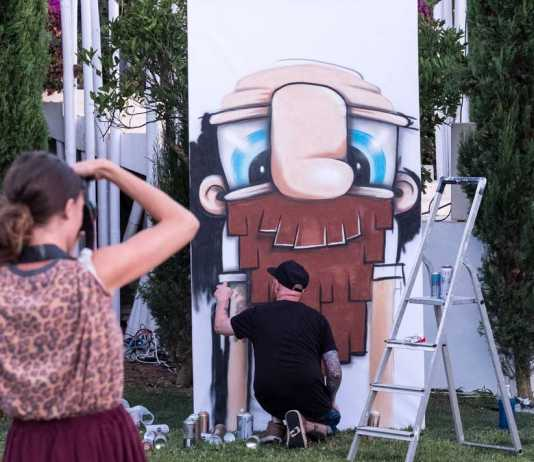 Street Art. Una de las obras de grafitti realizadas en vivo durante la jornada de 'Urban in Ibiza' en los jardines de Atzaró.