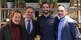 Los socios, Carlos Bonet Godó, Xavier Lagarma, el futbolista Borja Fernández y David Hospedales.