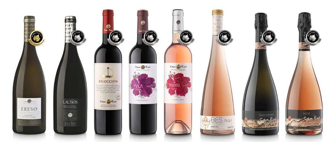 Los vinos de Can Rich premiados en la última edición de los Golden Leaf Vinum Nature. FOTO: CAN RICH