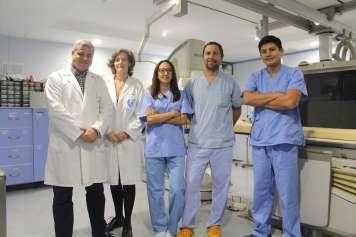Ricardo García (director médico) y los cardiólogos Cristina Rodríguez, Lucía Vera, Sebastián Gaido y Marcos Ñato.